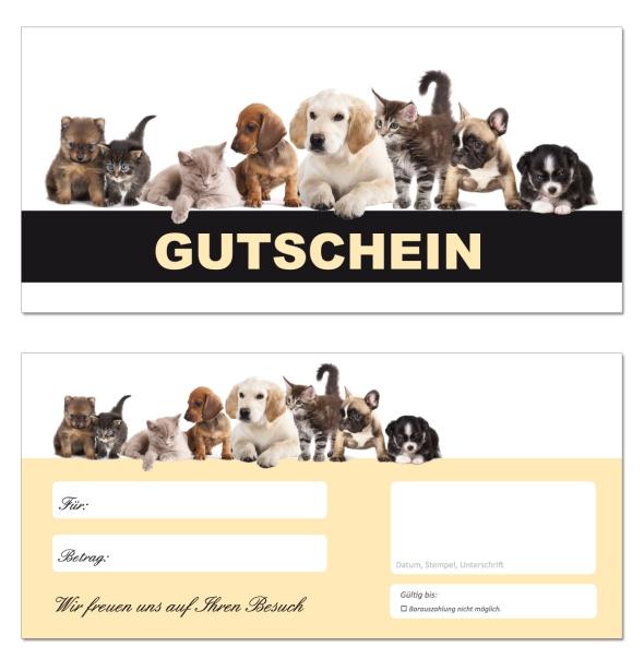 20 x geschenkgutscheine tiere 663 hunde katzen. Black Bedroom Furniture Sets. Home Design Ideas