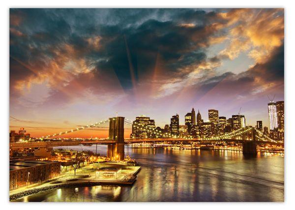 xxl poster 100 x 70cm new york skyline mit brooklyn bridge im sonnenuntergang ebay. Black Bedroom Furniture Sets. Home Design Ideas