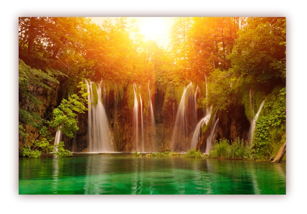 xxl poster 100 x 70cm wasserfall fliesst in wundersch n schimmernden waldsee ebay. Black Bedroom Furniture Sets. Home Design Ideas