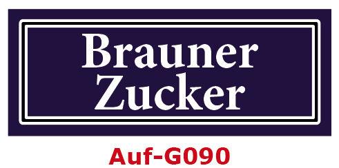 Brauner Zucker Etiketten 40 x 16 mm aus stabiler Vinylfolie, witterungsbeständig und wasserfest
