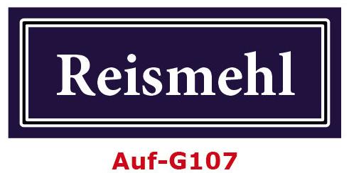 Reismehl Etiketten 40 x 16 mm aus stabiler Vinylfolie, witterungsbeständig und wasserfest