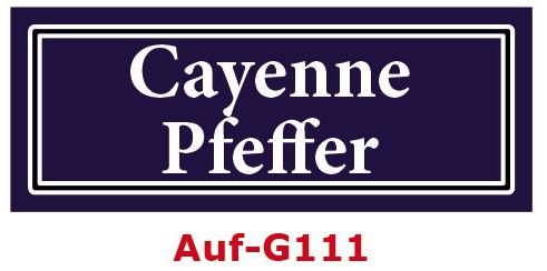 Cayenne Pfeffer Etiketten 40 x 16 mm aus stabiler Vinylfolie, witterungsbeständig und wasserfest