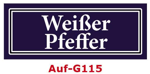Weißer Pfeffer Etiketten 40 x 16 mm aus stabiler Vinylfolie, witterungsbeständig und wasserfest