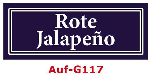 Rote Jalapeño Etiketten 40 x 16 mm aus stabiler Vinylfolie, witterungsbeständig und wasserfest