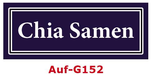 Chia Samen Etiketten 40 x 16 mm aus stabiler Vinylfolie, witterungsbeständig und wasserfest