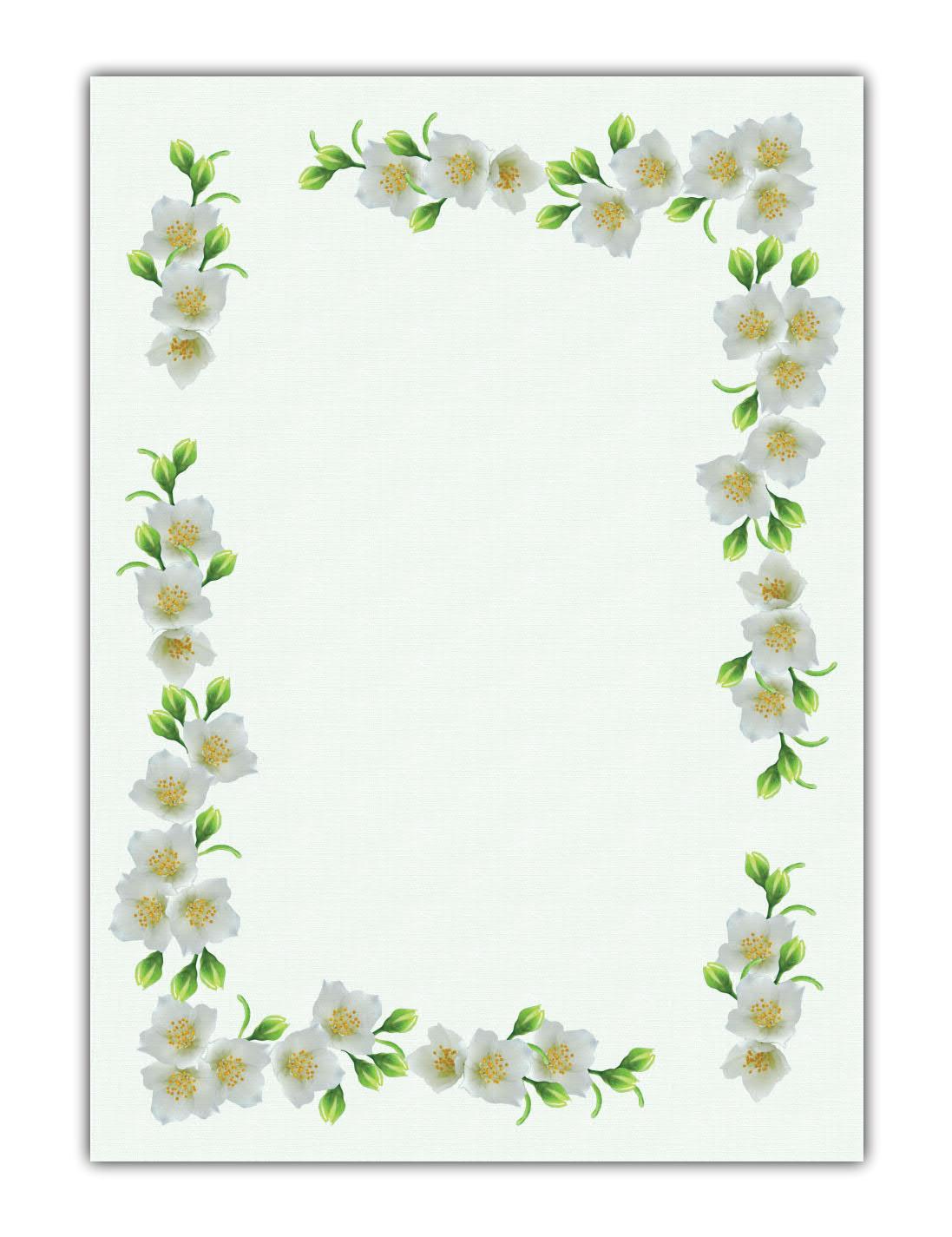 Blumen Motivpapier Briefpapier schöner weißer Jasmin (MPA-5190, DIN A4, 100 Blatt)