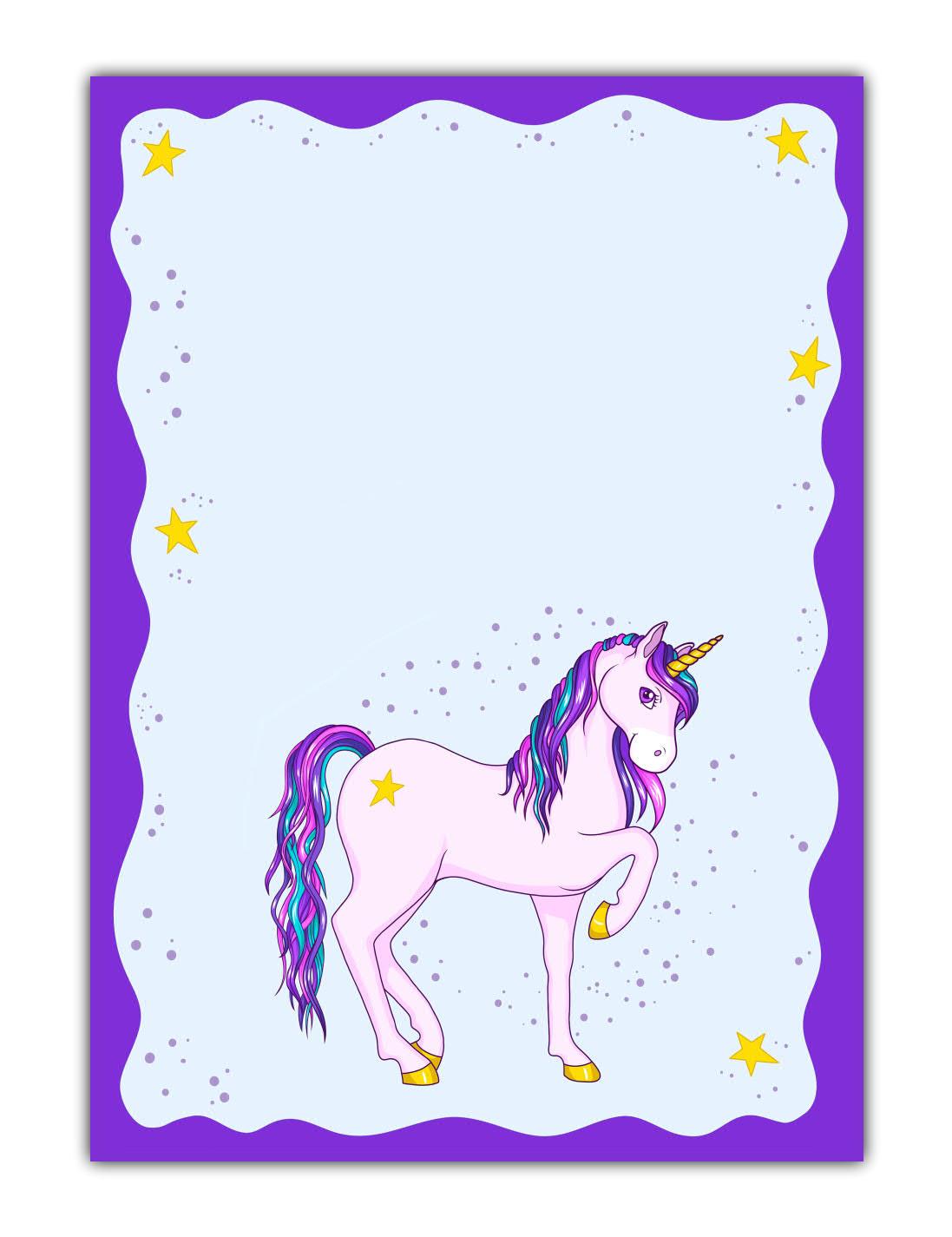 Kinder Motivpapier Briefpapier süßes violettes Einhorn mit Sternen (MPA-5193, DIN A4, 100 Blatt)