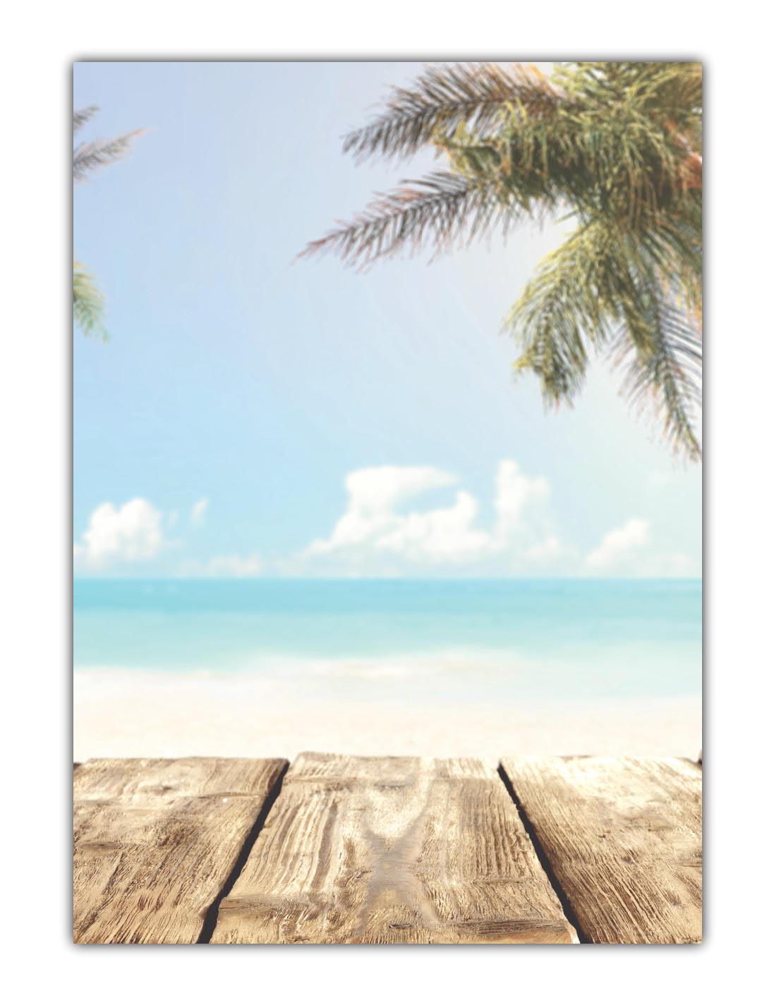 Strand Motiv Briefpapier (MPA-5196, DIN A4, 100 Blatt) Motivpapier schöner Sandstrand blaues Meer, Himmel Wolken und Palmen