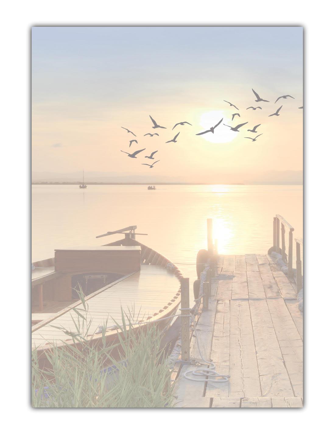 Strand Motiv Briefpapier (MPA-5198, DIN A4, 100 Blatt) Motivpapier schöner Sandstrand blaues Meer, Himmel Wolken und Palmen