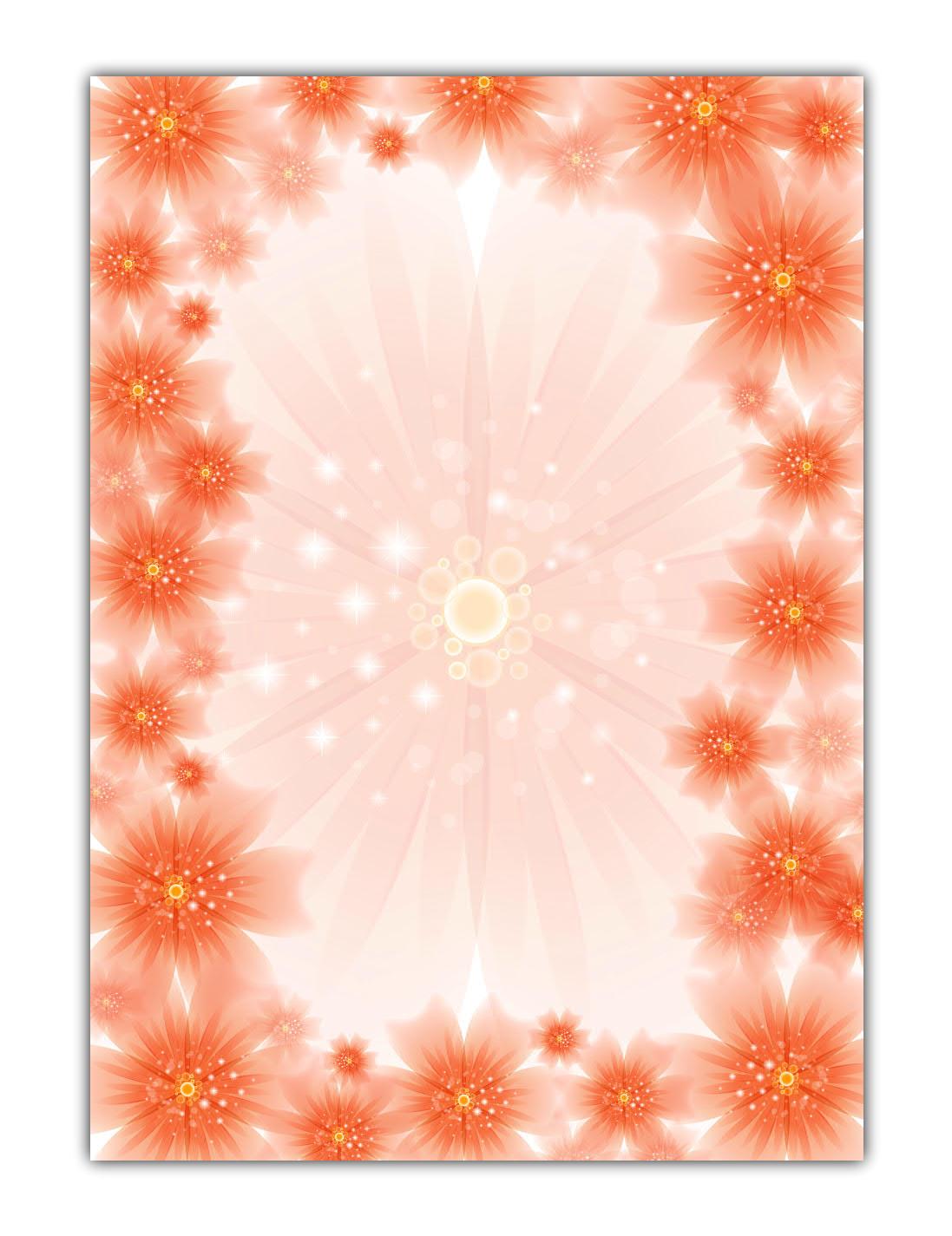 Blumen Motivpapier Briefpapier rote Blüten, Blumenblüten (MPA-5202, DIN A4, 100 Blatt)