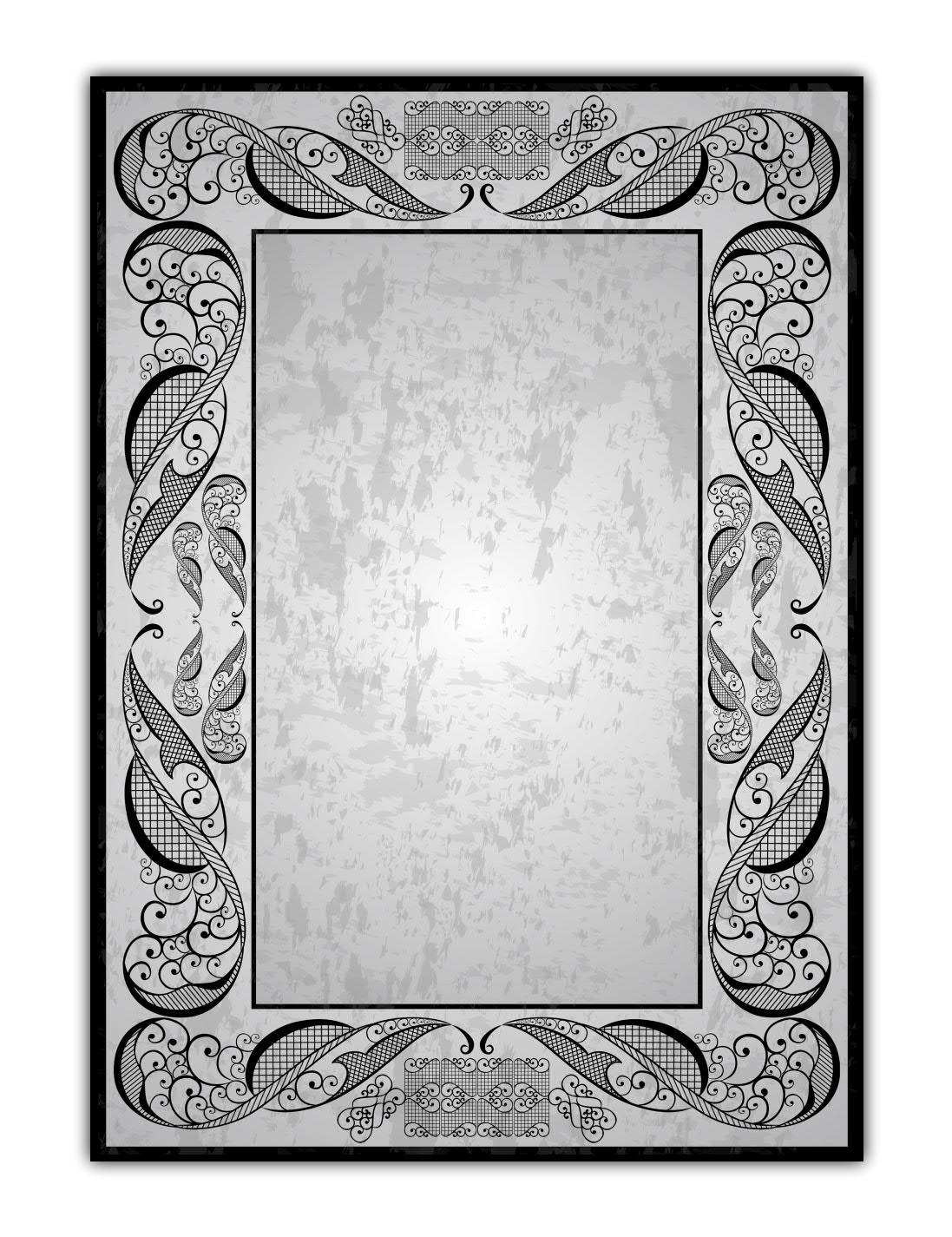 Vintage Muster Motiv Briefpapier (MPA-5203, DIN A4, 100 Blatt) Motivpapier Ornamente schwarz weiss Retro