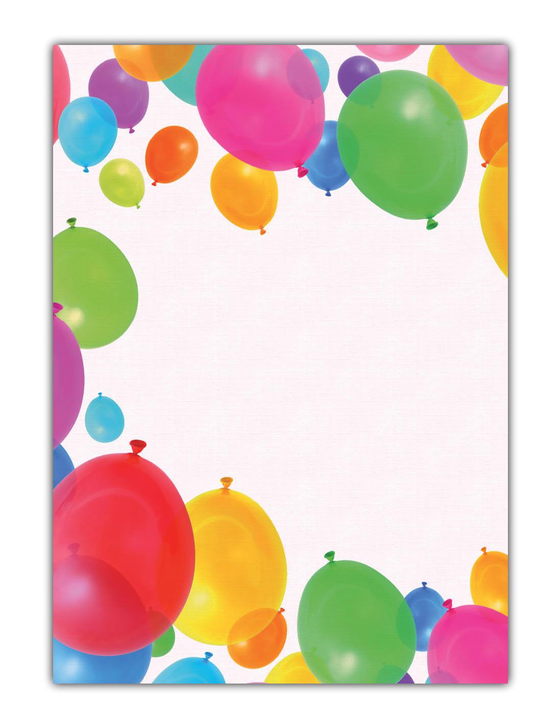 Kinder Motivpapier Briefpapier viele bunte Luftballons (MPA-5205, DIN A4, 100 Blatt)