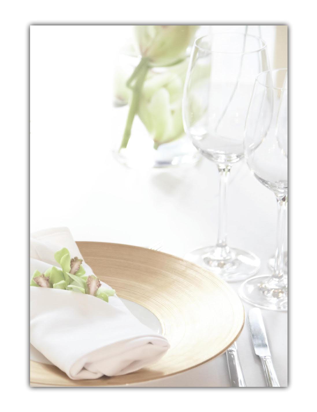 Gastronomie Motivpapier Briefpapier (MPA-5207, DIN A4, 100 Blatt) Motiv Restaurant Gläser Glas Teller Serviette Besteck