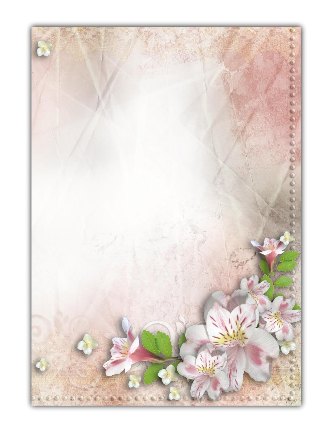 Motivpapier Briefpapier Vintage Blumen Hochzeit Einladung (MPA-5208, DIN A4, 100 Blatt)
