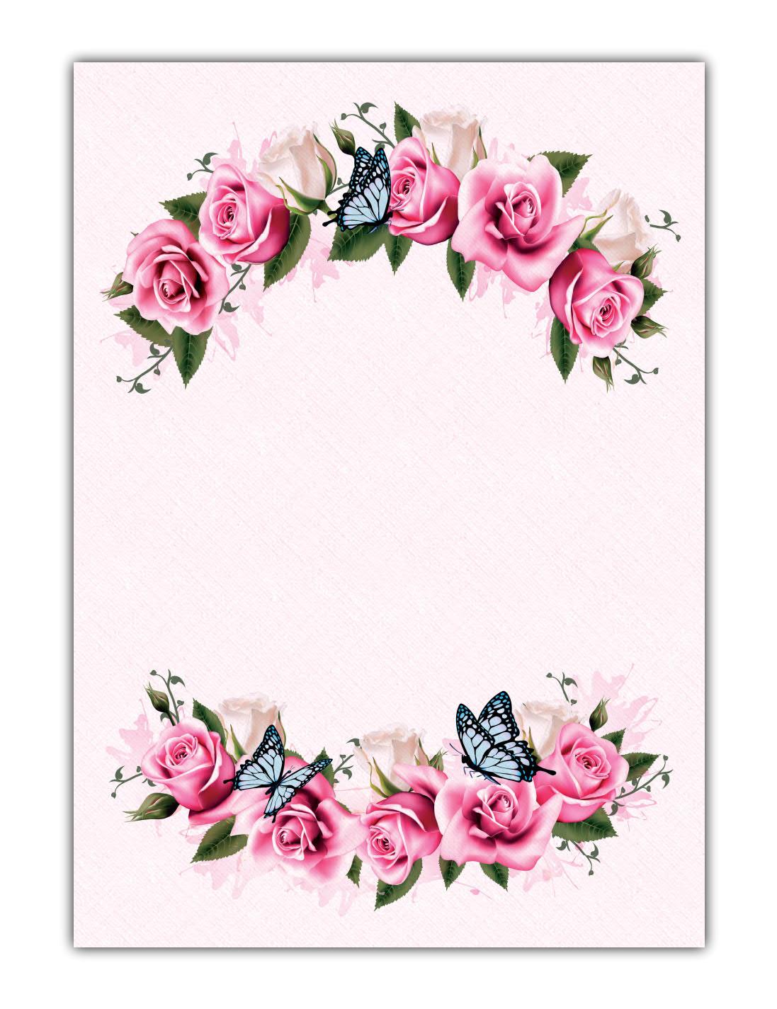 Blumen Motivpapier Briefpapier pink rosa Rosen mit blauen Schmetterlingen (MPA-5212, DIN A4, 100 Blatt)