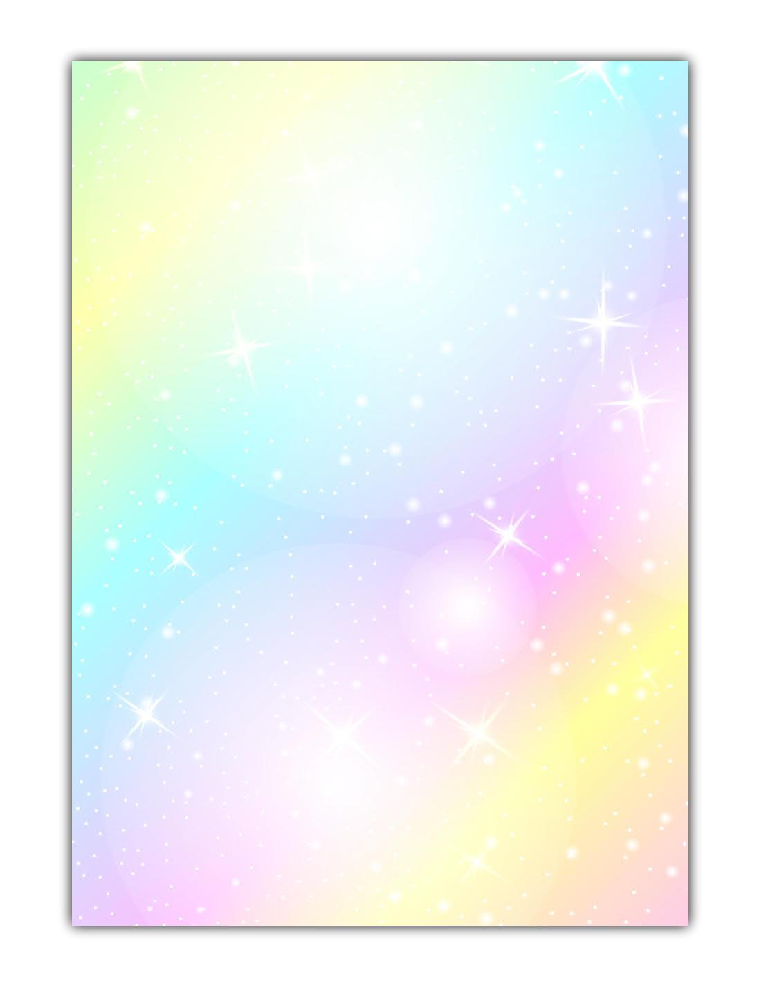 Rainbow Motiv-Briefpapier (MPA-5215, DIN A4, 100 Blatt) Motivpapier knallig bunt Regenbogenfarben mit Sternen