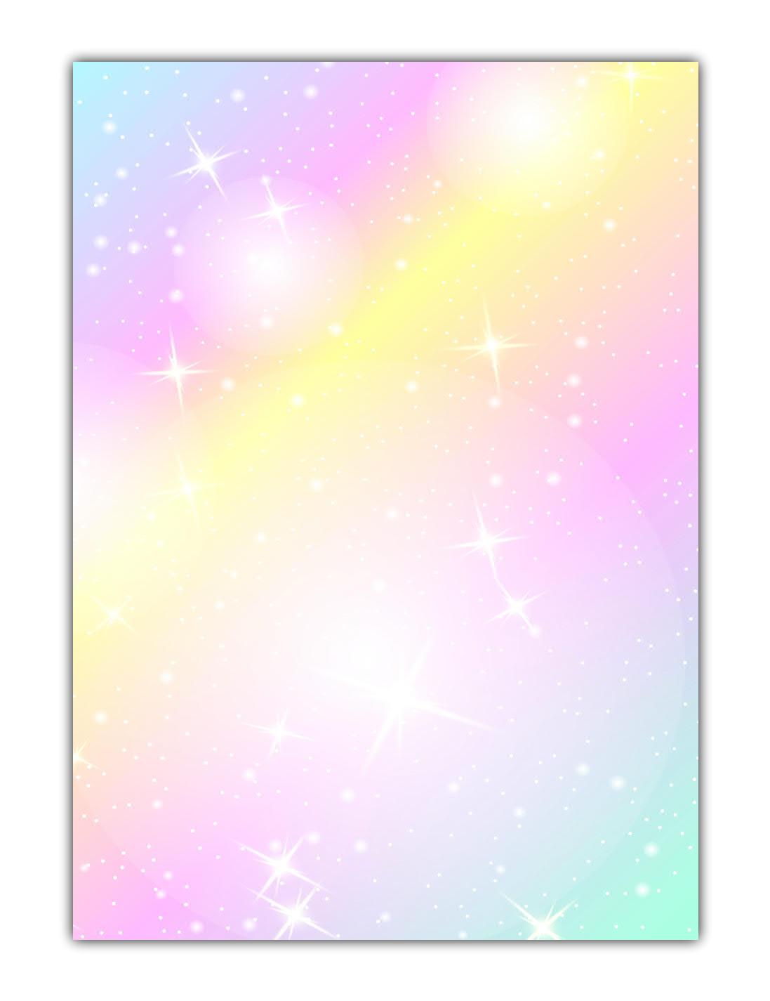 Rainbow Motiv-Briefpapier (MPA-5216, DIN A4, 100 Blatt) Motivpapier knallig bunt Regenbogenfarben mit Sternen