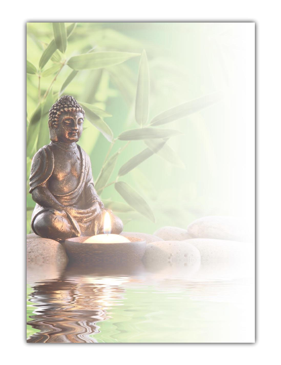 Wellness Motiv Briefpapier (MPA-5218, DIN A4, 100 Blatt) Motivpapier Feng Shui Buddha mit Bambus, Steinen und brennender Kerze am Wasser