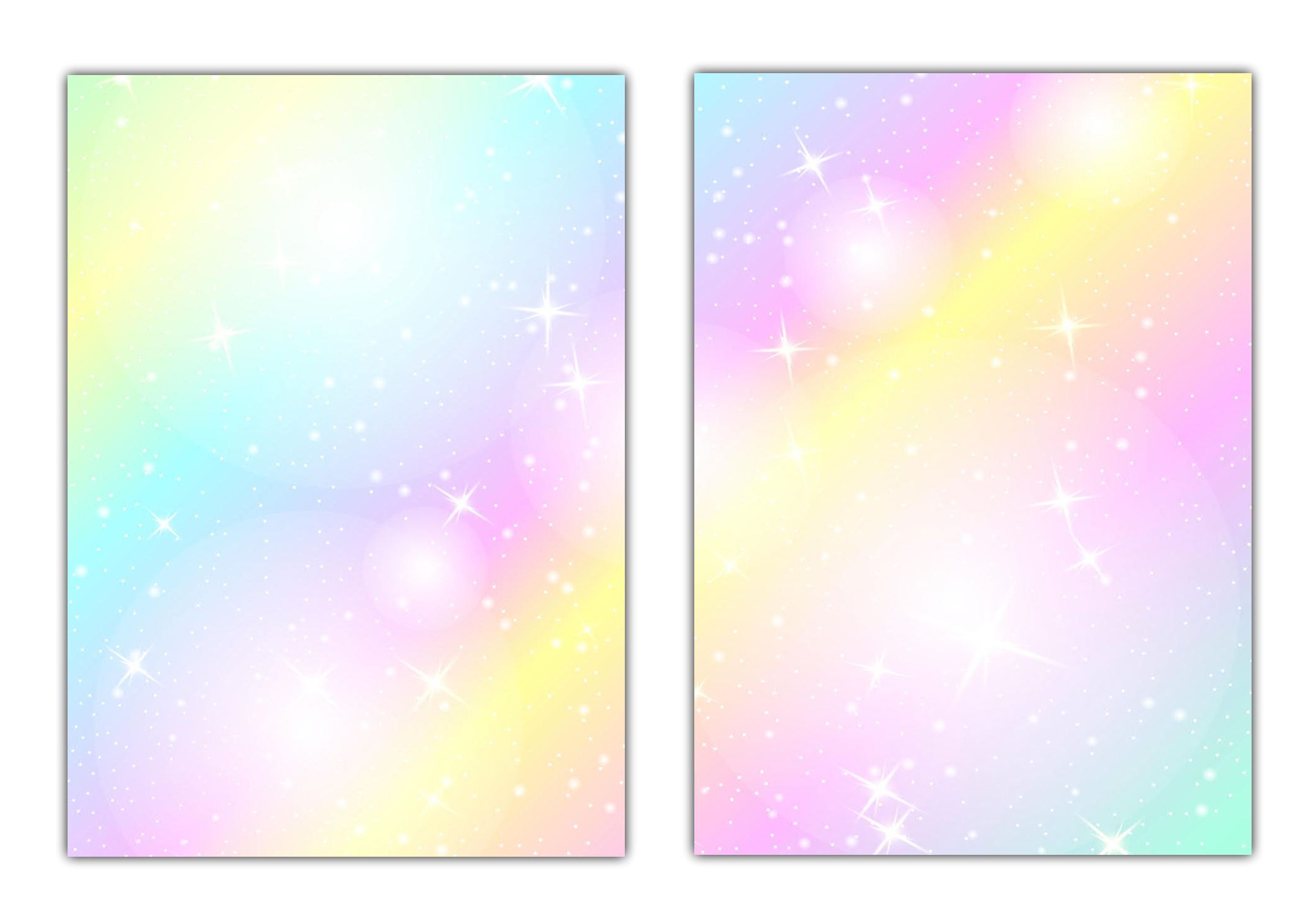 2x50 Blatt - Rainbow Motiv-Briefpapier (MPA-5215+5216, DIN A4) Motivpapier knallig bunt Regenbogenfarben mit Sternen
