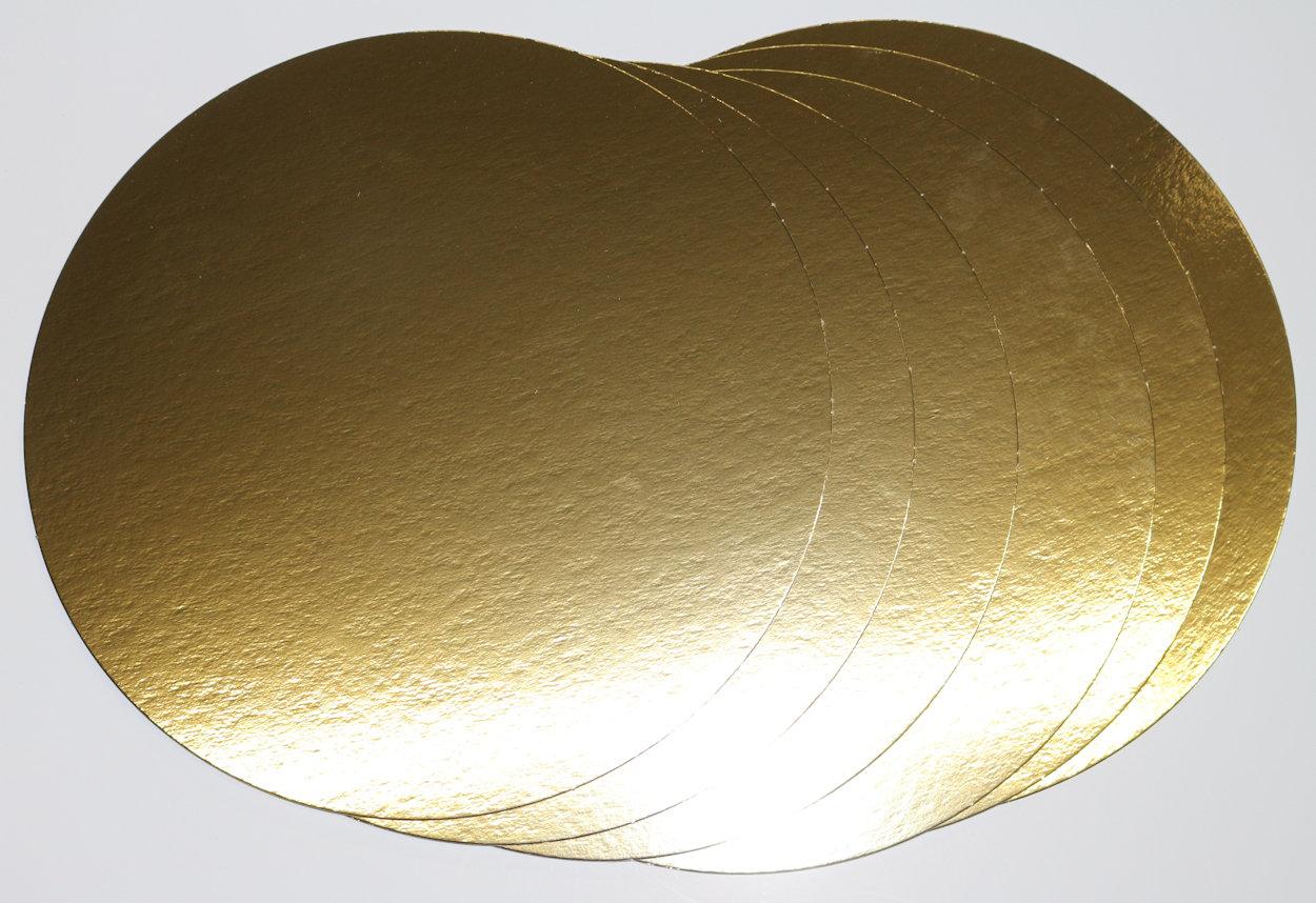 10 Stück Tortenuntersetzer mit Goldfolie Ø24cm